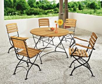 kovový zahradní nábytek, retro zahradní nábytek, balkonový set, skládací židle akát dřevo