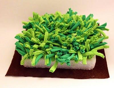 mini zahrádka, recy věci, látková zahrádka, podložka, polštářek, zelená dekorace